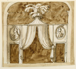 Drawing, Elevation of an alcove