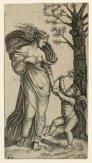 Allegorical female figure of Peace. She is standing in frontal position, head turned to right, facing down. Her right hand is on her breast; in her left hand she holds the hand of a putto who is standing at right. A tree in mid-distance.