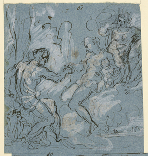 At left, a seated male nude reaching toward a seated female holding a child. At far right, a crowned figure.