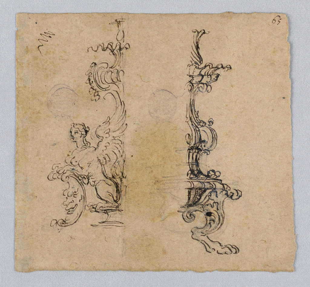 Two alternative designs for candelabra bases, half of each shown. At left, a sphinx and moon. At right, a claw foot.