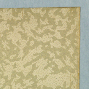 The design of this ceiling paper resembles vermiculated work. It is frostedand the field is filled with pin points also frosted. Printed in ivory withdesign frosted with ivory.