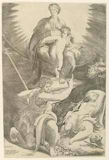 """Print, The Virgin and Child. St. John the Baptist and St. Jerome, """"The Vision of St. Jerome"""""""