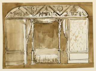 Drawing, Alcove side of a bedroom