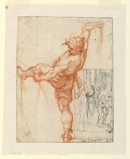 Vertical format. Figure of a man with left leg raised, facing left and poised to strike, raises a scourge with his right hand and holds fetters in left hand. Below, at right, is a black chalk sketch of Christ fettered to column. Two executioners with scourges stand above and behind him.