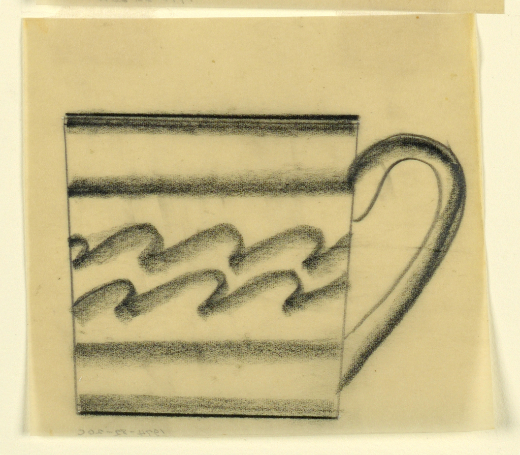 Design for a teacup with wavy lines across body.