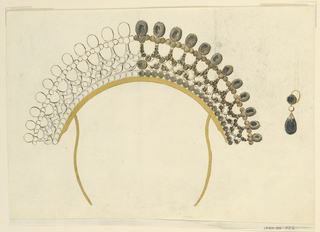 Drawing, Design for a comb and earring, ca. 1815