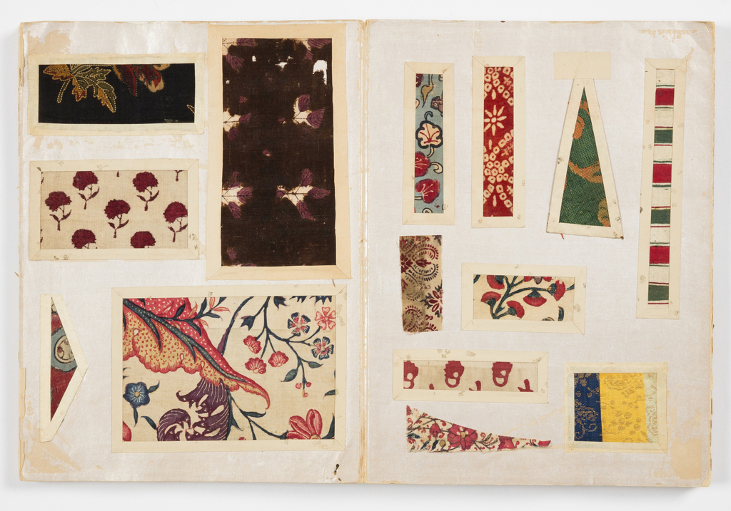 Two hundred and eighteen samples of brocades, embroideries, printed and painted cottons mounted in a book. Textile samples are from India, Japan and Indonesia and date from the 17th through the 19th century.