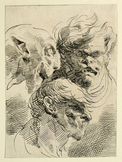 Three human heads rendered grotesquely like those of animals. Two are shown in profile while one is shown frontally.