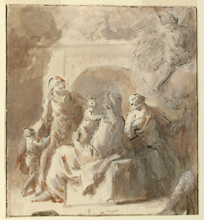 Rough sketch of figures with children in a garden.