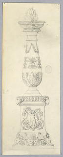 A brazier in the form of a baluster on a plinth. Gadrooning at top, below flames. Plinth decorated with ram heads and sphinx.