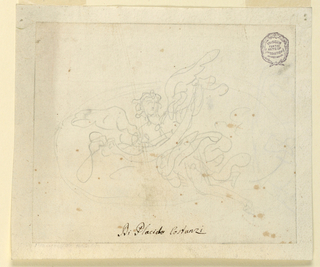 Sketch of an angel, head at left. Body shown from the front, carrying a scroll. Framing line.
