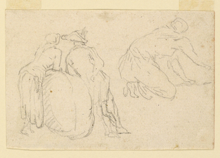 At left, a man and woman seen from the back, leaning on a sack. At right, a kneeling figure at work.