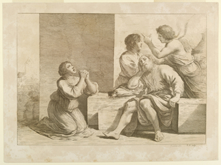 Joseph asleep on steps or marble blocks at the right. Behind him the angel speaks and points to a thrid figure. At the left, a woman is on her knees at prayer, facing the right. A building beyond, far left.