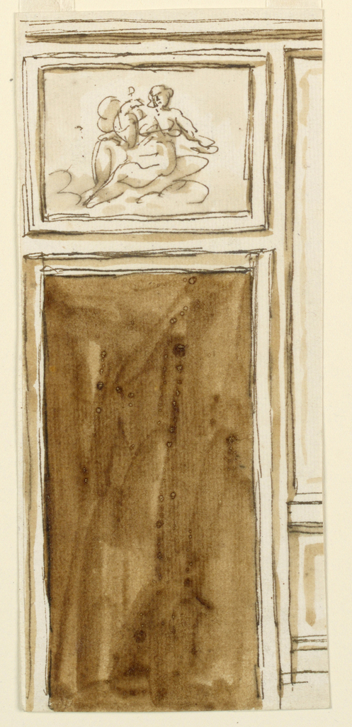"Below is the door opening with a molded frame. Above is a rectangular frame with a female figure, with a bird in her lap, upon clouds; possibly ""JUNO"" with the peacock. Beside, at right, parts of the dado and the panel of the wall."