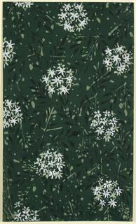 Drawing, Textile Design: Floral on Dark Green Ground