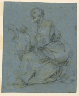 Vertical composition with sitting men on both sides. A) Probably Christ, turned toward left, raising his hands. B) Reverse: the legs of the man are turned toward the right and the upper part of his body is shown from the front with his head turned toward the left. His left hand is lowered and his right hand is raised.