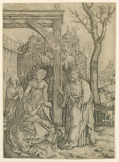 In right foreground stands Christ, his head turned to left and looking at Mary, seated, facing right. Behind her, two women. In left mid-distance, an opened gate; at right, a garden fence. In left background, a castle, at right: mountains.