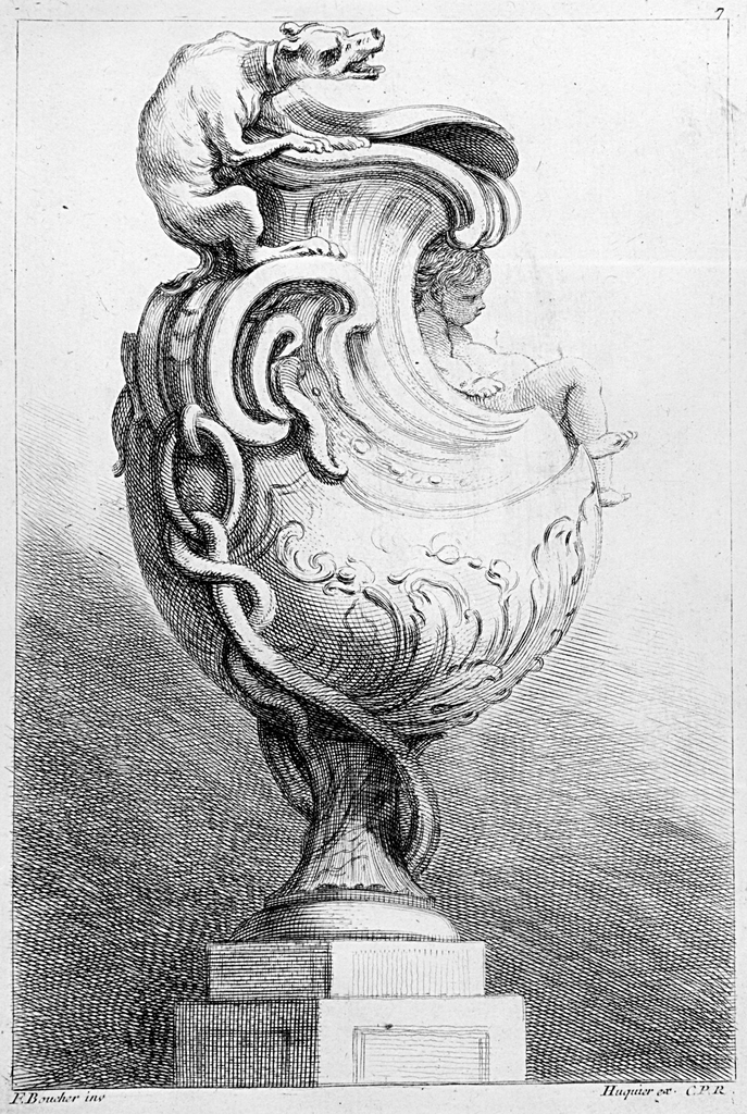 Folio 7, plate 7 of a series of 12. Design for a vase to be executed in metal, placed on a pedestal. Shell-shaped forms near the neck and lid, the handle connected to the base by a snake-like chain. Sitting on the handle is a crouching dog baring its teeth. Reclining in the slope of the neck, at right, a putto figure.