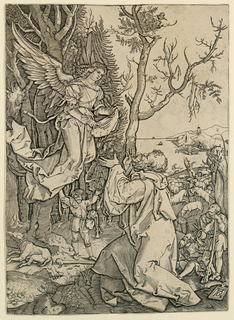 In right foreground, Joachim kneeling; left, above him an angel in three-quarter view. In mid-distance, shepherds with herd. In background, mountains, a sea, and a port.