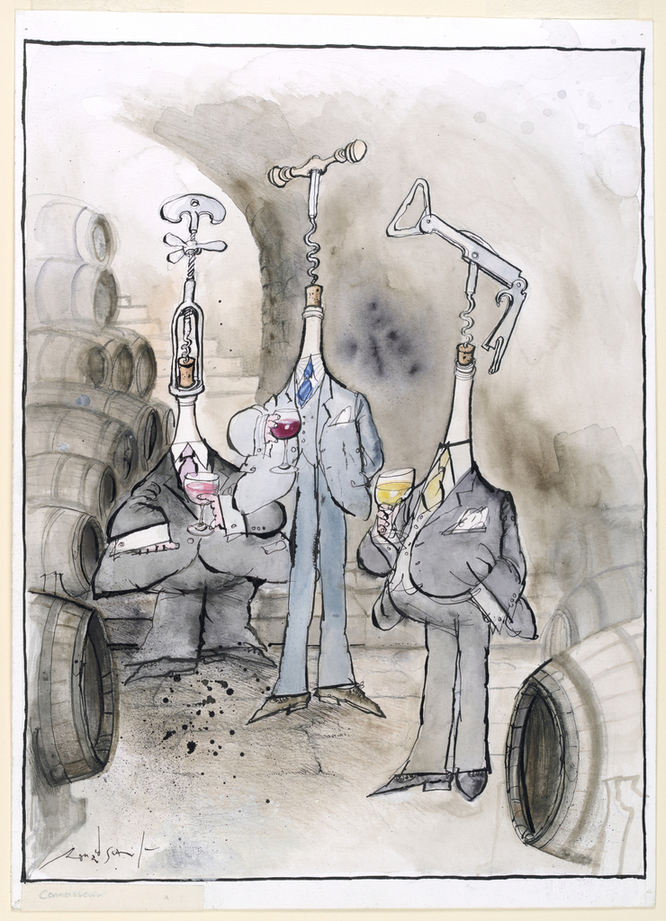 Three figures in suits stand amongst barrels in a low, stone-vaulted room. Their heads take the forms of different wine opener designs and each holds a glass of wine.