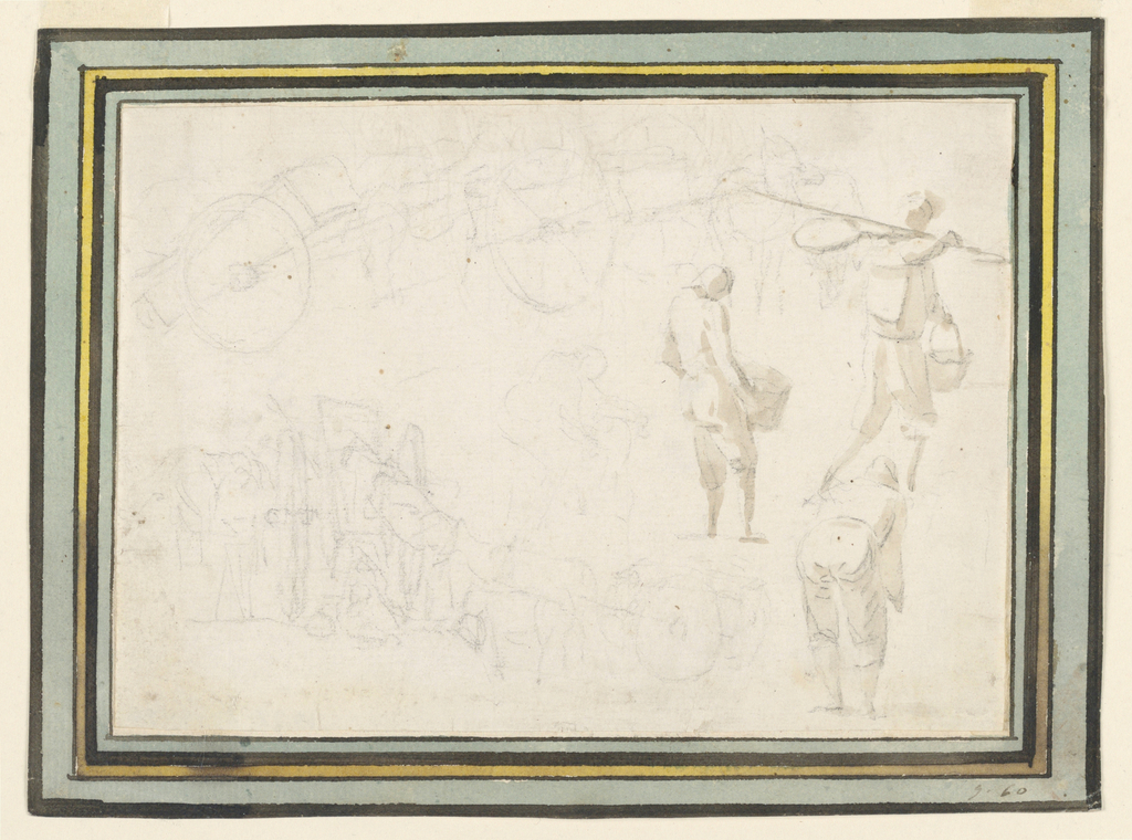 At right, three studies of laboring figures. At left, study of a wheeled cart