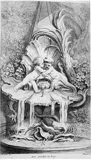 Folio 3, plate 3 of a series of 7. Design for a fountain. Rococo fountain design with one putti and one young triton embracing within an open shell. Sea creatures at the base of the fountain below.