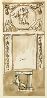 Drawing, Console table and looking glass