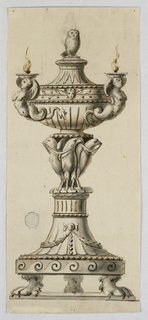Three lion feet on a base, support a capital upside down. Birds holding drapery festoons at center supporting a tureen topped with an owl.