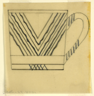 Design for a teacup with chevron across body.