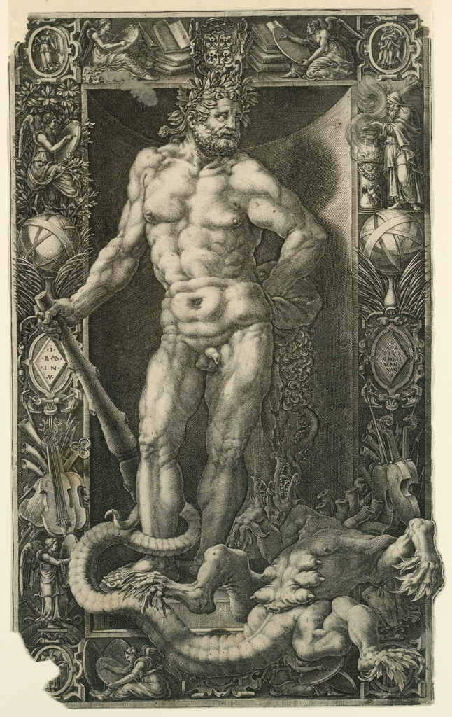 Within an ornamental frame Hercules stands within a niche over the slain Hydra. Frame composed of musical instruments and strapwork ornamentation, and bears two diamond-shaped plaques, left: I / BB/ I N V; at right: D / EOR / GIVS / GHISI / MANT / VAN / F