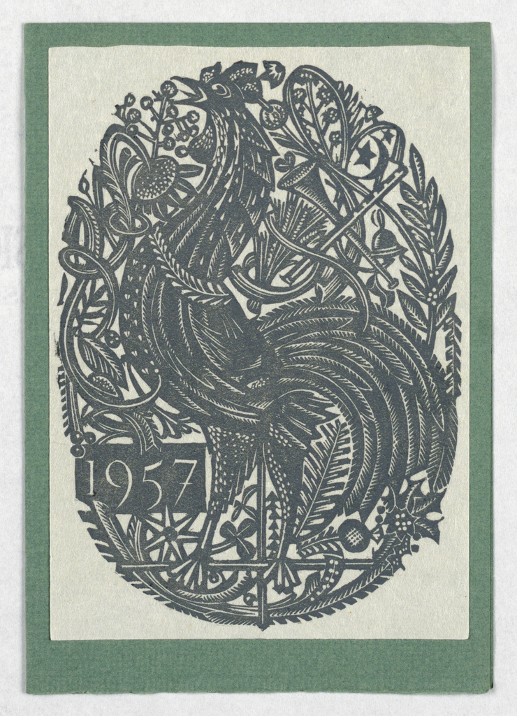 Christmas card from Alison and Paul Wescott showing a rooster against a figured ground. Dated 1957 at left.