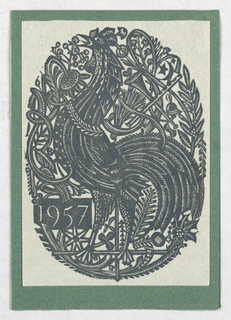 Christmas card showing a rooster against a figured ground (from Alison and Paul Wescott)