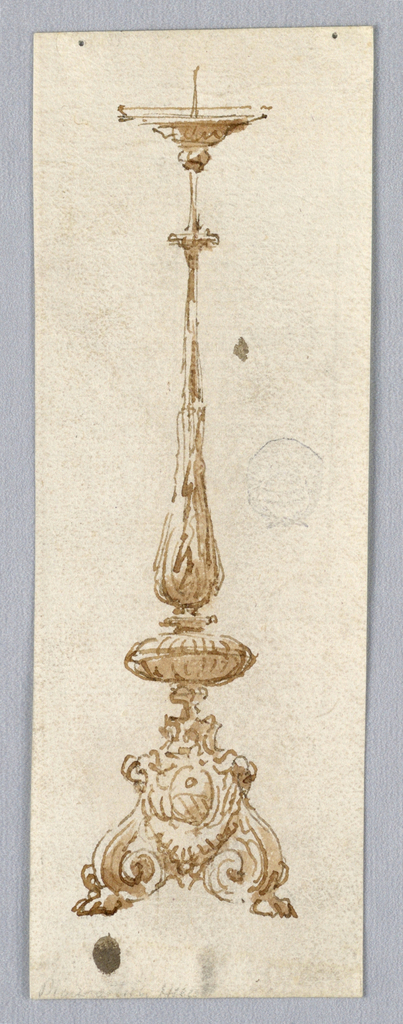 Design for a Candelabra. Tall baluster form with acanthus leaves. Scrolling base with paw foot and oval coat-of-arms.