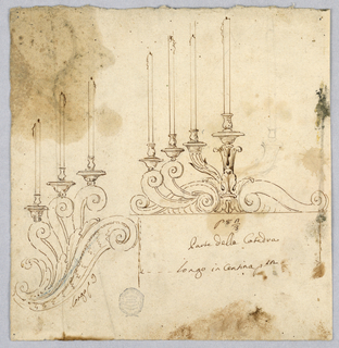 Two designs for candlesticks, both with scrolling bases. Version at left holds three candles and is stepped Version at right holds four.