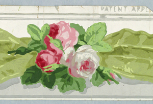 "a) Four and one/half strips of border printed side by side on one length. Gray/white ground, crushed blue ribbon, pink and white roses, gray edge lines; b) One strip same; c) Two and one-half strips, pink ribbon; d) Two strips, pink ribbon; e) One strip, pink ribbon; f) Four strips, green ribbon; g) One strip green ribbon; h) One strip, green ribbon; i/k) One strip, green ribbon.  a,f: printed in margin: ""PATENT APPLIED FOR"" Embossed; Ericson & Weiss/PARIS/NEW YORK b,c,e,d: Embossed; Ericson & Weiss/PARIS/NEW YORK c: stamped verso: ""FABRIQUE PAR J. ZUBER & CIE, RIXHEIM"" d: stamped, verso ""1015BR"" e:  stamped, verso ""10139"" f-g: printed in margin - parts of or complete phrase: ""PATENT APPLIED FOR"""