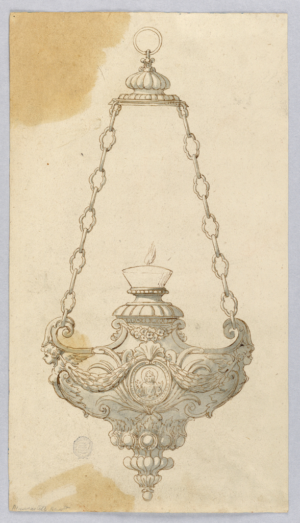 Lamp hanging from two chains with loved links. Lit candle at center. Body of lamp decorated with a medallion , swags and caryatids.