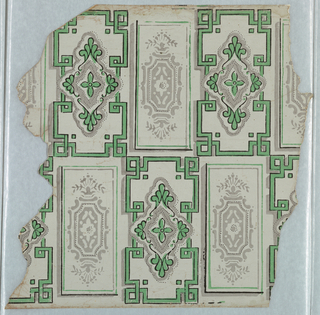 Strapwork and stylized foliation, similar to tile work or ashlar block design.  Printed in green, gray, and black on pale off-white ground.