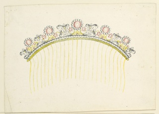 Jewelry design for a hair comb intended to be executed in gilded, partly engraved metal, silver and diamonds. In the cresting border, blossoms composed of a central red diamond framed by smaller white ones and connected with a leaf branch in the Gothic manner, and other floral motifs as grapes. Below, a silver and an engraved gold band. Twenty-five tines.