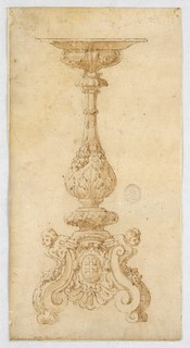Design for a Candelabra. Baluster form with acanthus leaves and fruit. Scrolling base with scroll foot and two cherubs flanking an oval plaque.