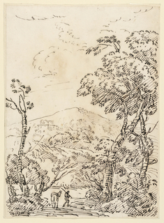 A small figure with donkey in a landscape, framed by trees. A mountain rises in the center distance.