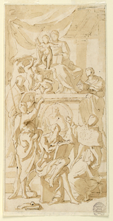 The Virgin sits with Child behind her, standing on a pedestal upon steps.  Beside the group are two angels one of them carrying a cardinal's hat.  Beside the pedestal stand at left a bishop with a book and crozier, at right St. Cecilia.  In front of the pedestal are St. John the Baptist standing, St. Jerome sitting and visiting St. Thomas Aquinas kneeling in the background, above.