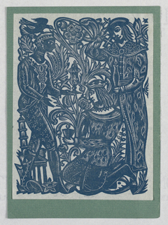 Vertical rectangle. In blue print on white paper, depiction of three male figures, the three wise men presenting gifts to the newborn baby Jesus Christ, each holding a vase or vessel in a different form and wearing clothing made up of a variety of patterns. At left, a dark-skinned figure with a bird perched at his head. At right, a standing figure wearing a hat and a long coat. At center, a kneeling figure with long hair and a hat. Background made up of abstracted foliage, with swirling leaf and flower forms. At lower left, a small temple in classical style with columns and triangular pediment, a multi-story tower in the background.