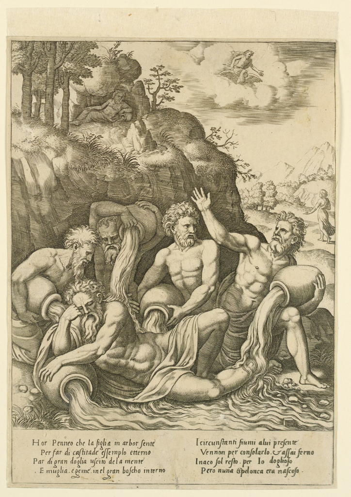 Four river gods are grouped about a fifth lying in the foreground. In the distance a departing woman, and Apollo in the sky. Below, an eight-line verse in Italian. Episode in the history of Apolllo and Daphne.