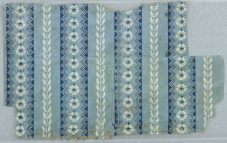 On light blue ground, dark blue and white floral and geometric blocks forming vertical stripes.