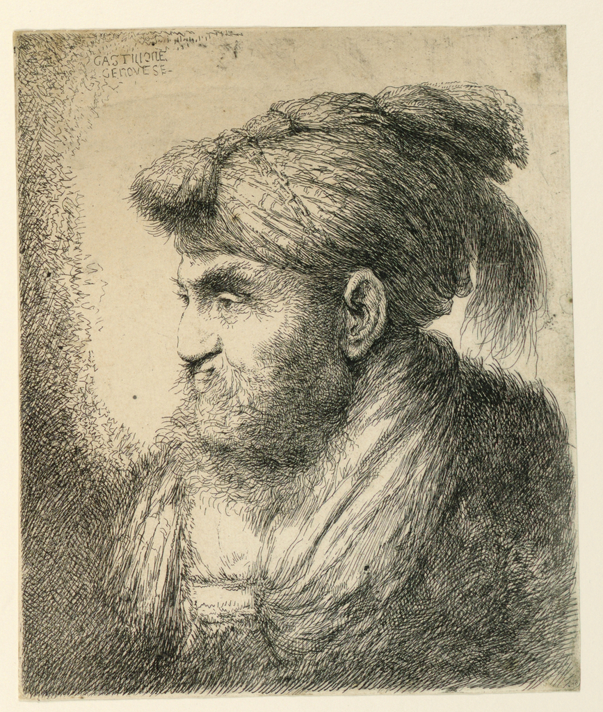Portrait of a male figure in profile, facing left. He wears a turban and has a long beard and hair.