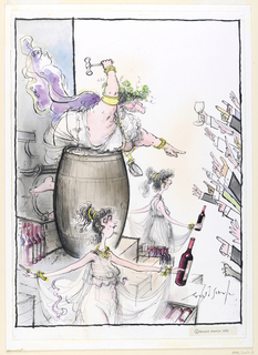 In upper left, figure in the manner of Bacchus leans over a barrel, exhuberantly pointing at outstretched hands raising fingers to bid.  Below, two female figures dressed as Greek maidens hold bottles of red wine, seeming to walk towards the eager bidders.