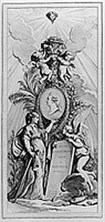 Portrait of Monsier in a medallion with an allegorical figure of architecture and a genius holding a tablet with the series title