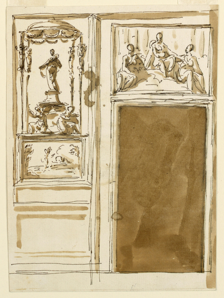 Drawing, Elevation of wall with a door