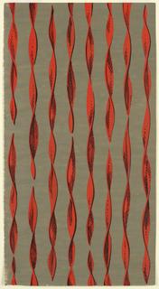 Drawing, Textile Design: Twirled Orange Ribbons on Olive Ground
