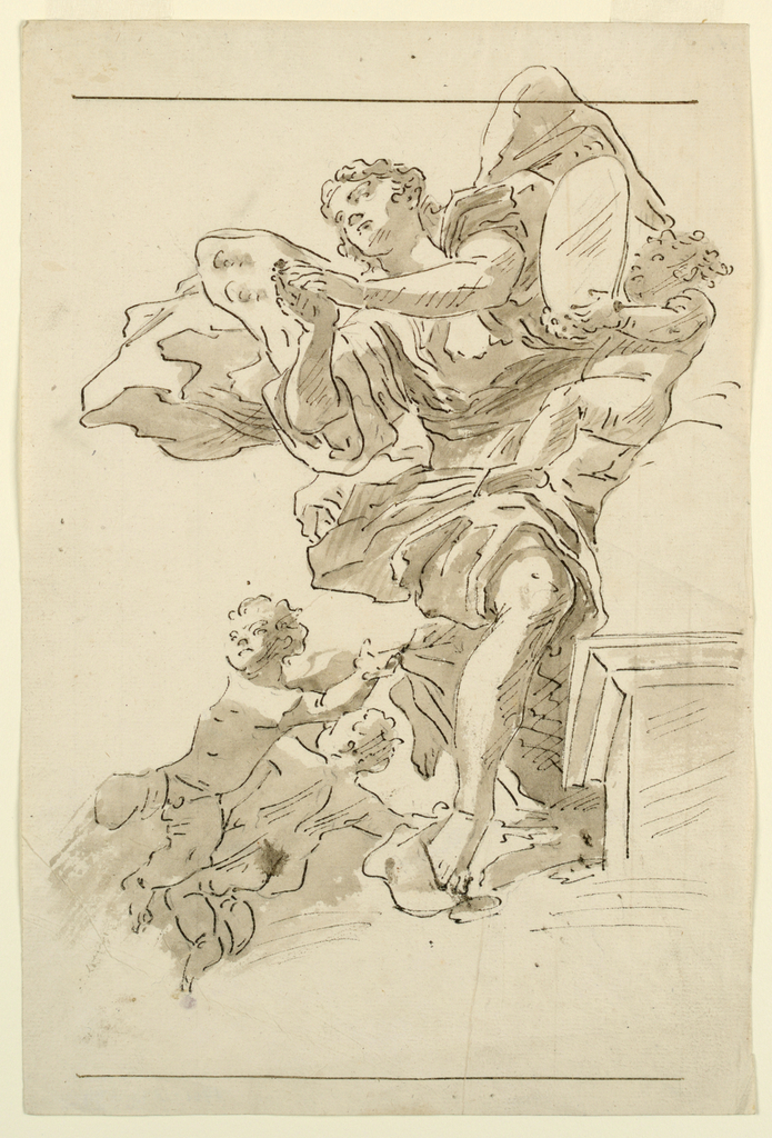 Three putti around a winged figure with clasped hands. One putto holds a mirror.